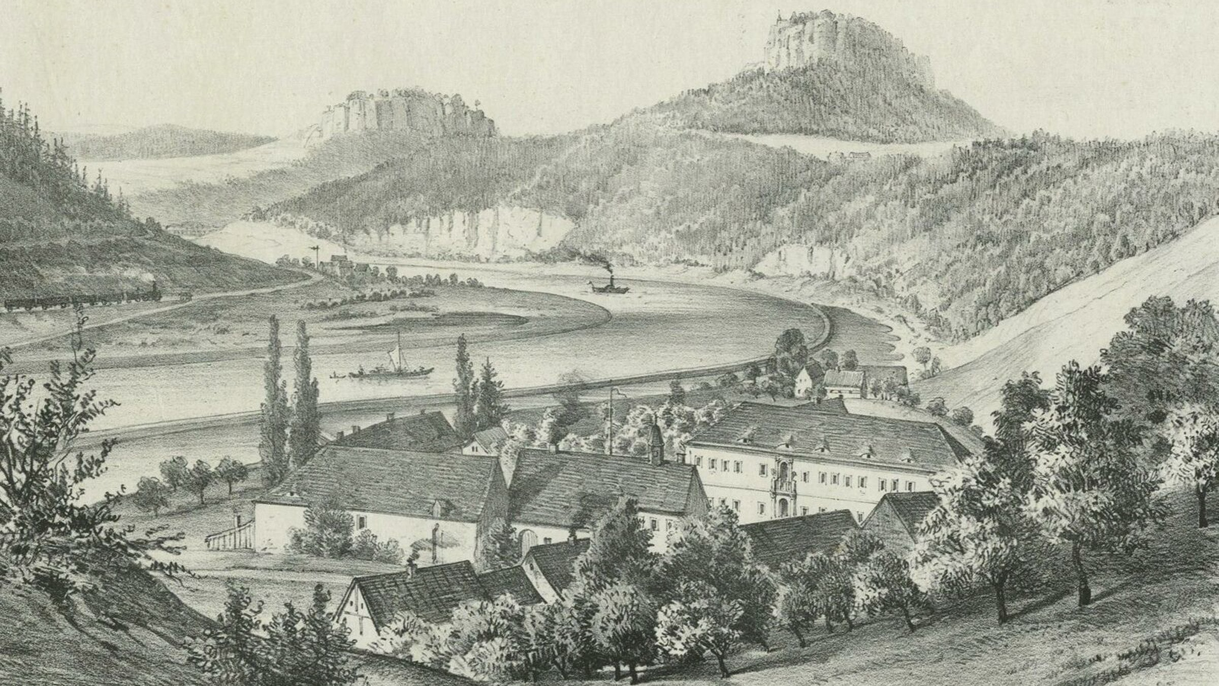 schloss prossen um 1850
